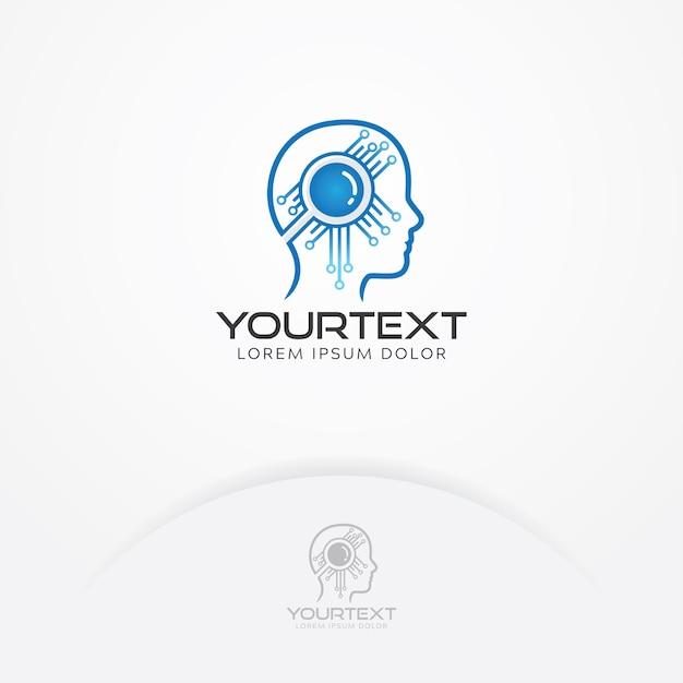 Logotipo da inteligência artificial Vetor Premium