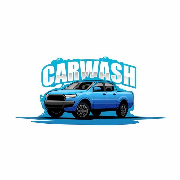 Logotipo da lavagem de carro Vetor Premium