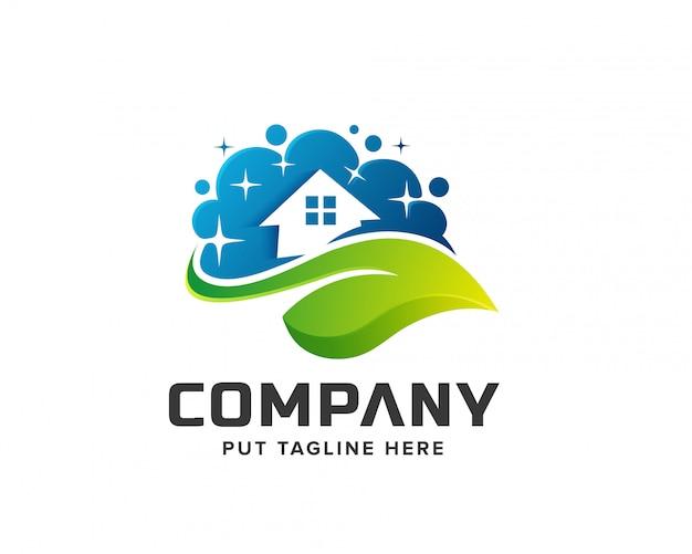 Logotipo da lavanderia da casa limpa Vetor Premium