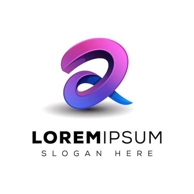 Logotipo da letra 3d Vetor Premium