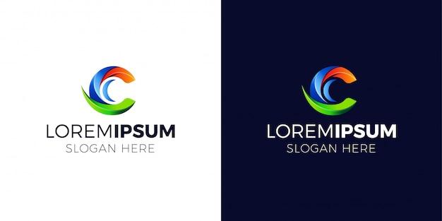 Logotipo da letra c com estilo gradiente Vetor Premium