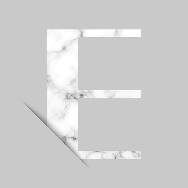 Logotipo da letra e com fundo de mármore cinza e branco Vetor Premium