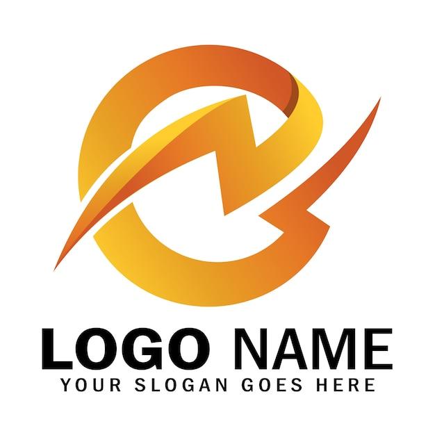 Logotipo da letra inicial e trovão Vetor Premium