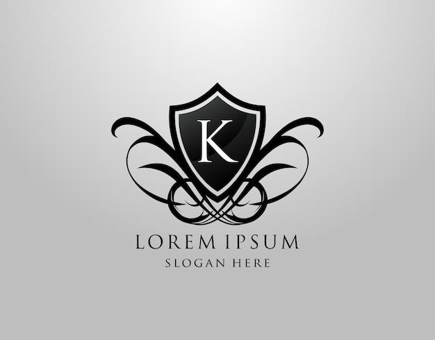 Logotipo da letra k. design de escudo vintage k Vetor Premium