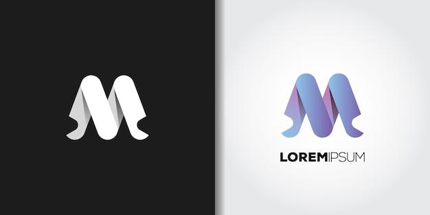 Logotipo da letra m da cor gradiente Vetor Premium