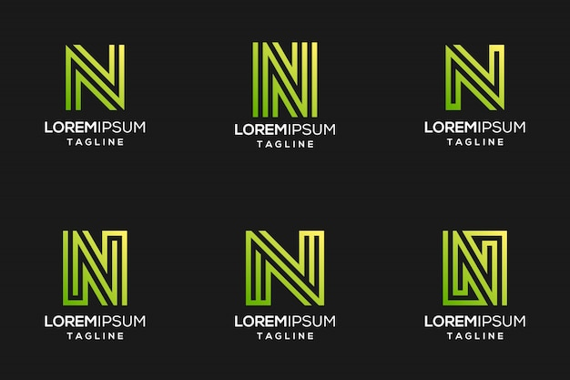 Logotipo da letra n abstrato verde com cor gradiant Vetor Premium
