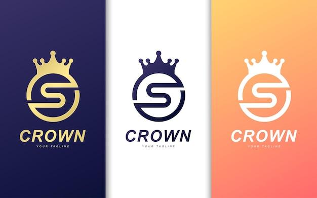 Logotipo da letra s com círculo em coroa Vetor Premium