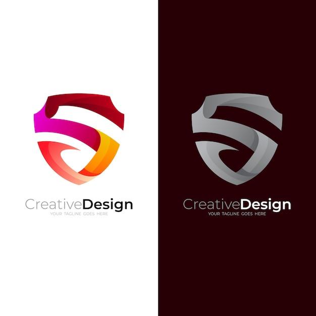 Logotipo da letra s com escudo, logotipo moderno e ícones simples Vetor Premium