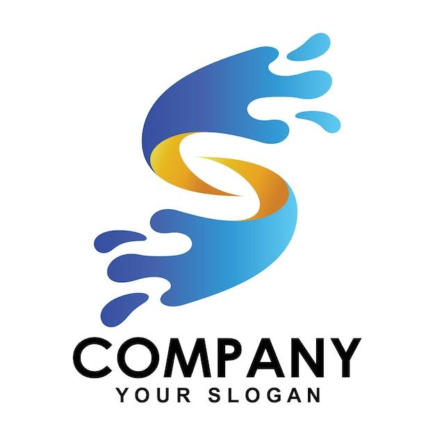 Logotipo da letra s com forma de jatos de água Vetor Premium