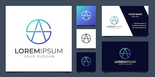 Logotipo da letra s e a do monograma com modelo de cartão de visita Vetor Premium