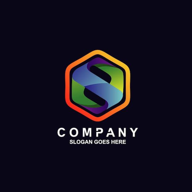 Logotipo da letra s em formato hexagonal Vetor Premium