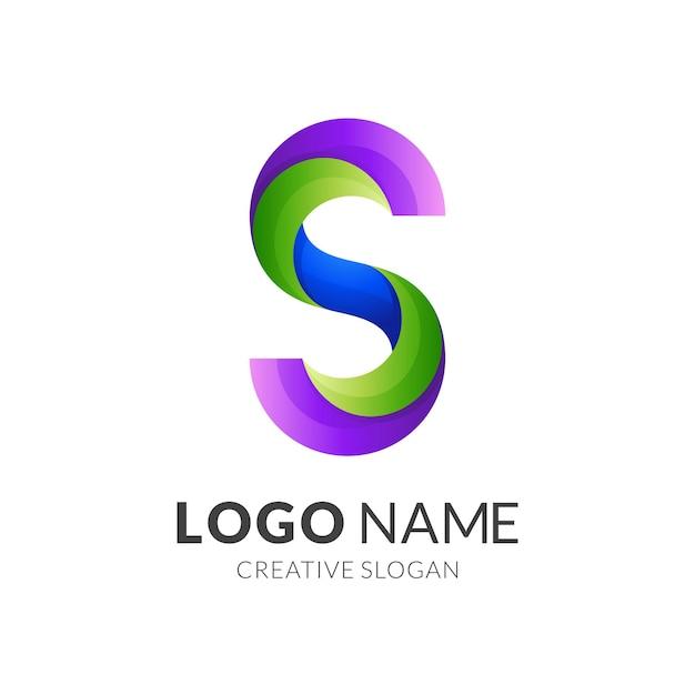 Logotipo da letra s, letra s e folha, logotipo de combinação com estilo colorido 3d Vetor Premium