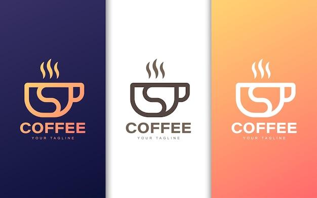 Logotipo da letra s minimalista em xícara de café com conceito moderno Vetor Premium