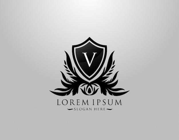 Logotipo da letra v. inicial v majestic king shield black design para boutique, hotel, fotografia, joalheria, etiqueta. Vetor Premium