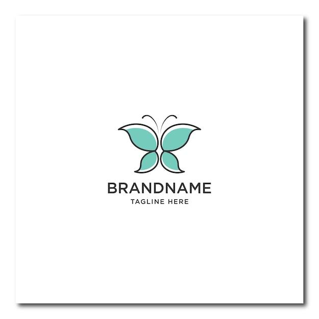 Logotipo da linha borboleta. logotipo de borboleta plana Vetor Premium