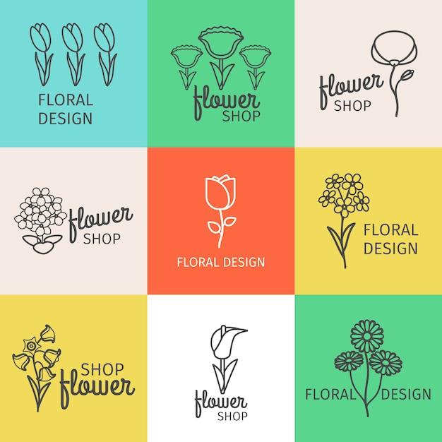 Logotipo da linha de design floral Vetor Premium