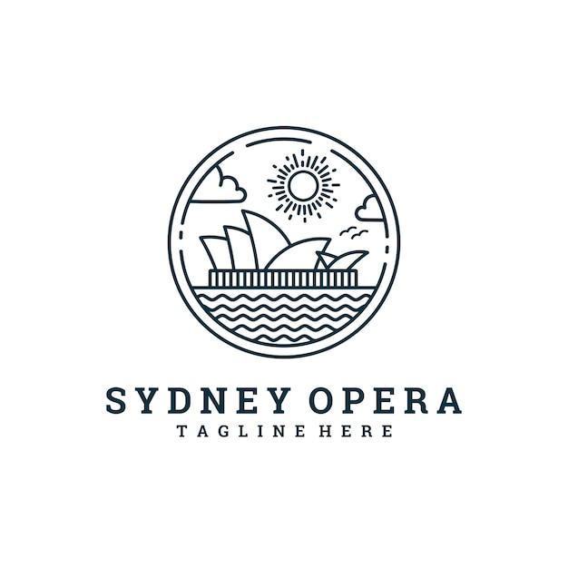 Logotipo da linha de ópera de sydney Vetor Premium