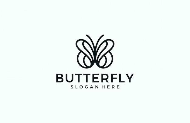 Logotipo da linha minimalista borboleta Vetor Premium