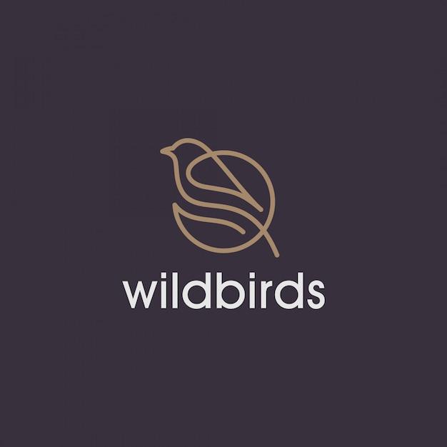 Logotipo da linha simples pássaro selvagem Vetor Premium