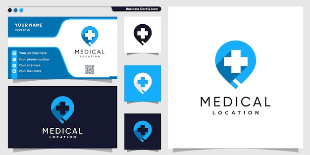 Logotipo da localização médica com estilo moderno e modelo de design de cartão de visita Vetor Premium