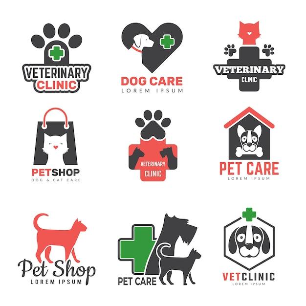 Logotipo da loja de animais de estimação. clínica veterinária para animais domésticos cães gatos gatos proteção símbolos modelo Vetor Premium