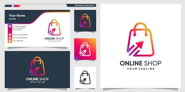 Logotipo da loja online com estilo de arte de linha gradiente legal e modelo de design de cartão de visita Vetor Premium