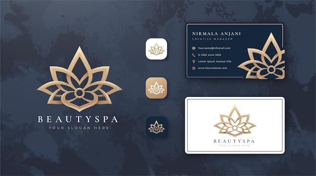 Logotipo da lótus da beleza e design de cartão de visita Vetor Premium