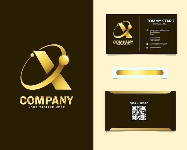 Logotipo da luxury letter x orbit com modelo de cartão de visita de papelaria Vetor Premium