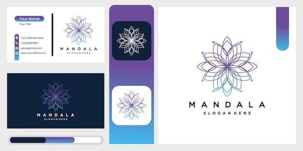 Logotipo da mandala circular bonita em gradação para boutique, florista, negócios, interior. Vetor Premium