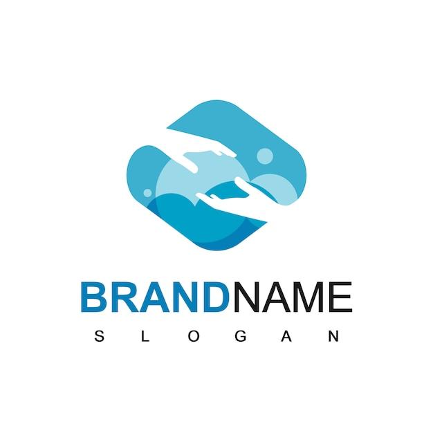 Logotipo da mão para a comunidade de ajuda e esperança Vetor Premium