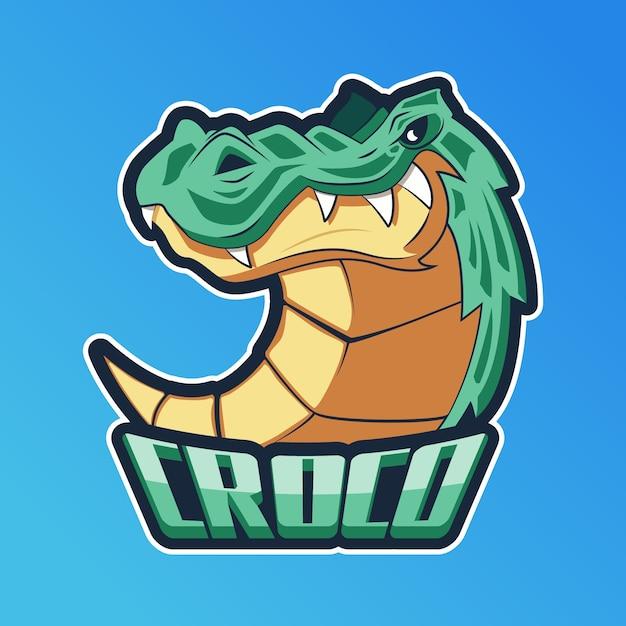 Logotipo da mascote com crocodilo Vetor Premium