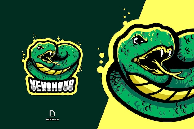 Logotipo da mascote da cobra verde esporte e ilustração da equipe esport Vetor Premium