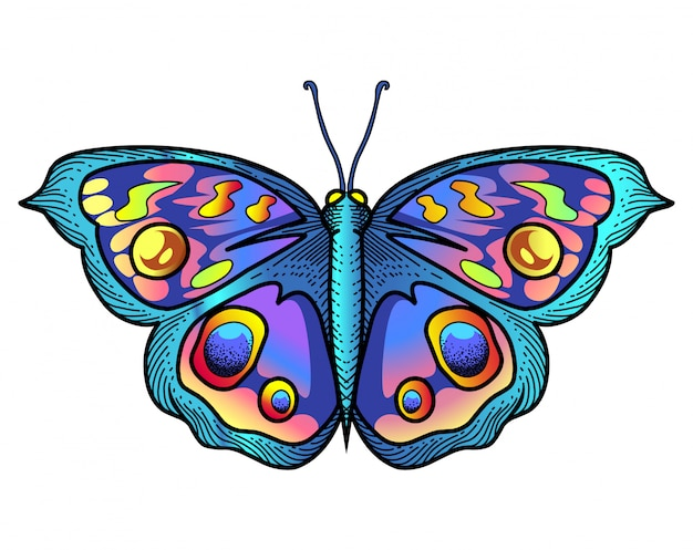 Logotipo da mascote de borboleta Vetor Premium