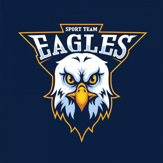 Logotipo da mascote de cabeça de águia Vetor Premium