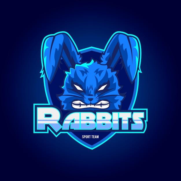 Logotipo da mascote de coelhos Vetor grátis