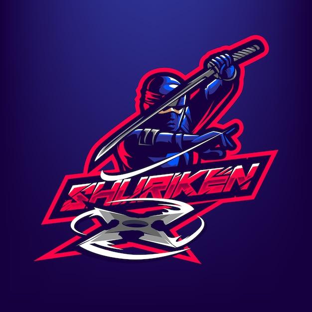 Logotipo da mascote de ninja Vetor Premium