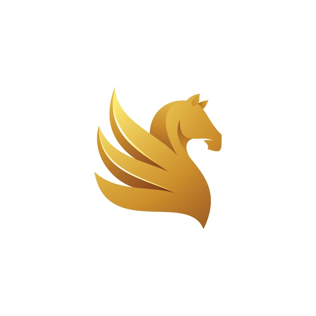 Logotipo da mascote de pegasus da asa do cavalo Vetor Premium