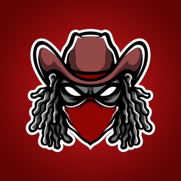Logotipo da mascote do bandit e sport Vetor Premium