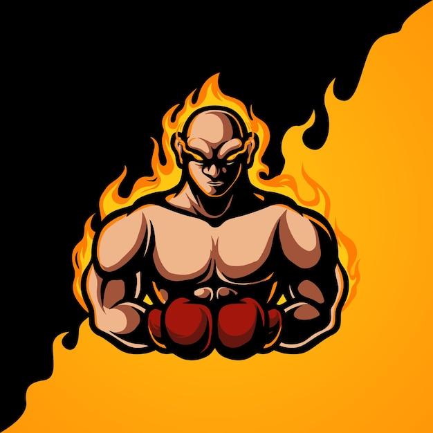 Logotipo da mascote do boxing e sport Vetor Premium