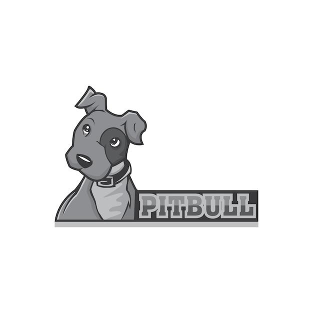Logotipo da mascote do cão pit bull Vetor Premium