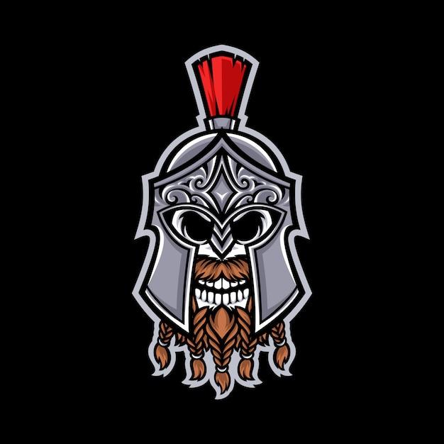 Logotipo da mascote do crânio espartano isolado Vetor Premium