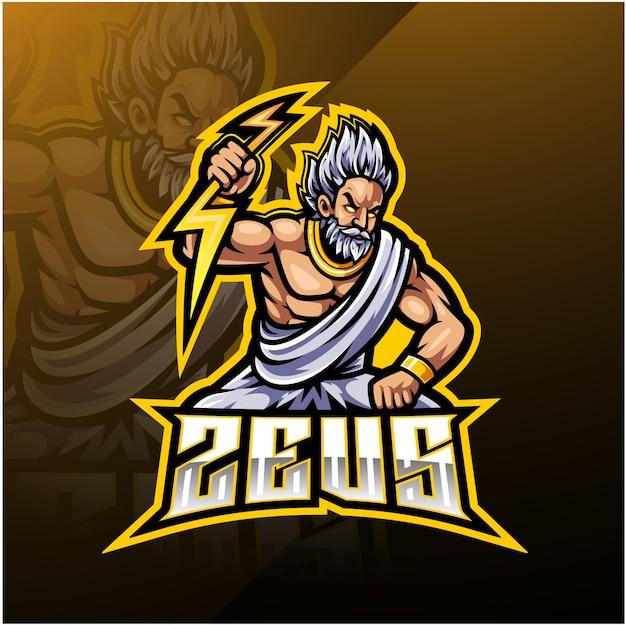 Logotipo da mascote do esporte zeus Vetor Premium