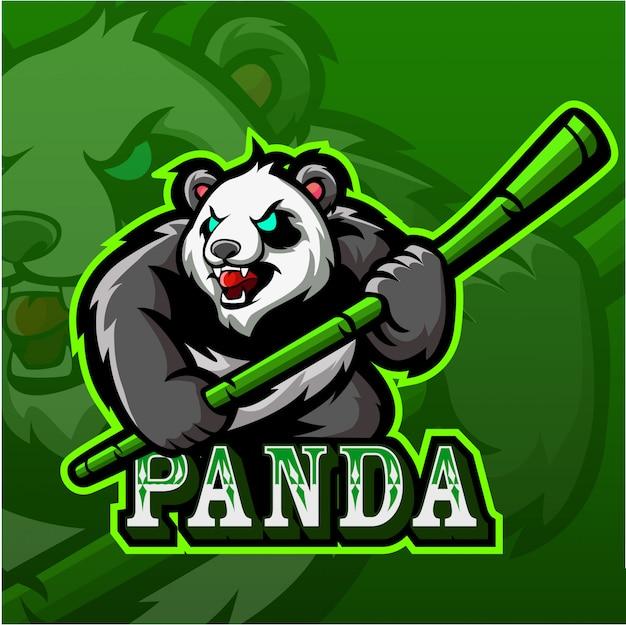 Logotipo da mascote do panda esport Vetor Premium