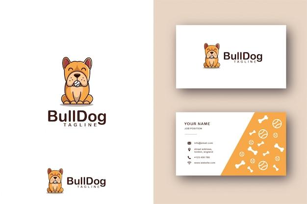 Logotipo da mascote dos desenhos animados do modelo de bulldog e cartão Vetor Premium