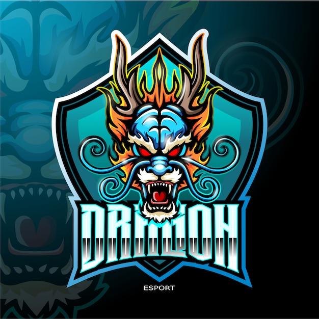 Logotipo da mascote dragão chinês para logotipo de jogos de esporte eletrônico Vetor Premium