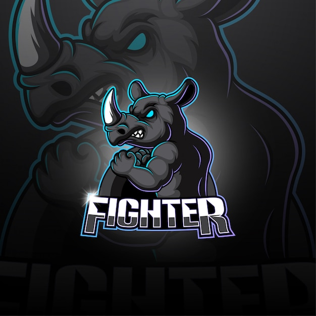 Logotipo da mascote esport rinoceronte Vetor Premium