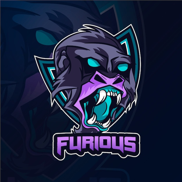 Logotipo da mascote gorila furioso Vetor Premium