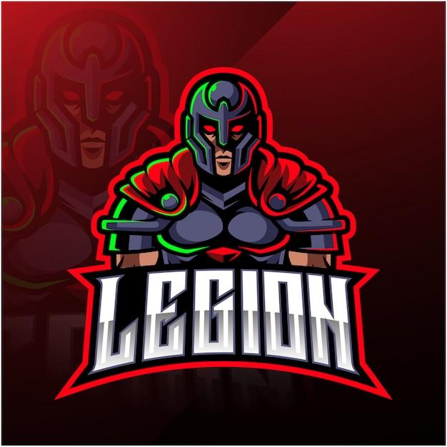 Logotipo da mascote guerreiro legião Vetor Premium