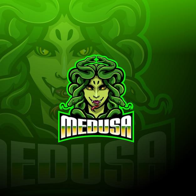 Logotipo da mascote medusa esport Vetor Premium