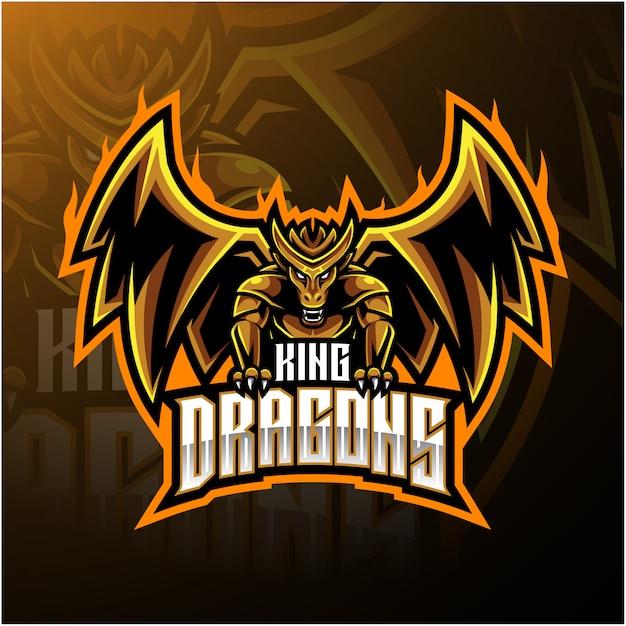 Logotipo da mascote rei dragão Vetor Premium